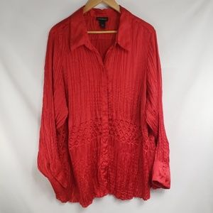 Lane Bryant Red Satin Pressed Pleated Button Up